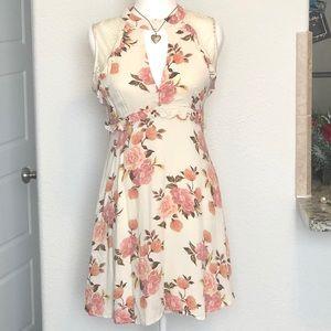 Ruffled Floral Cream Dress